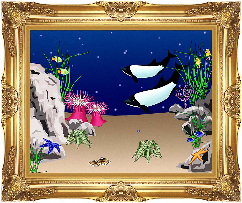 Lora Ashley Whales Swimming with Majestic Gold Frame
