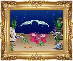 Lora Ashley Kissing Dolphins canvas with Majestic Gold frame
