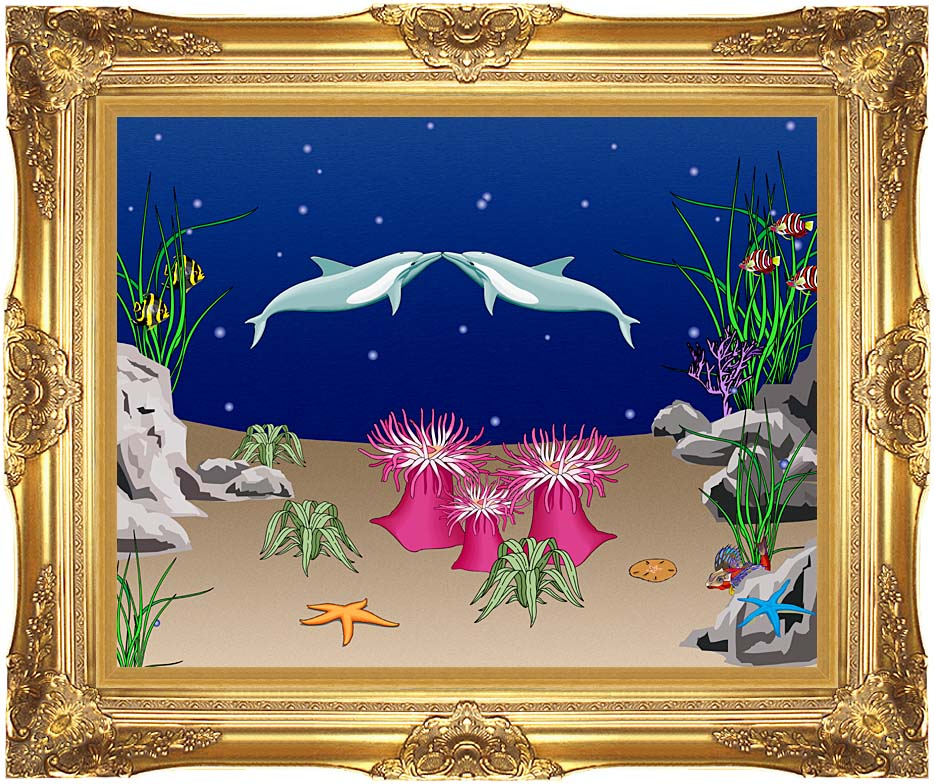 Lora Ashley Kissing Dolphins with Majestic Gold Frame