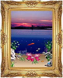Lora Ashley Ocean Scene Above And Below canvas with Majestic Gold frame