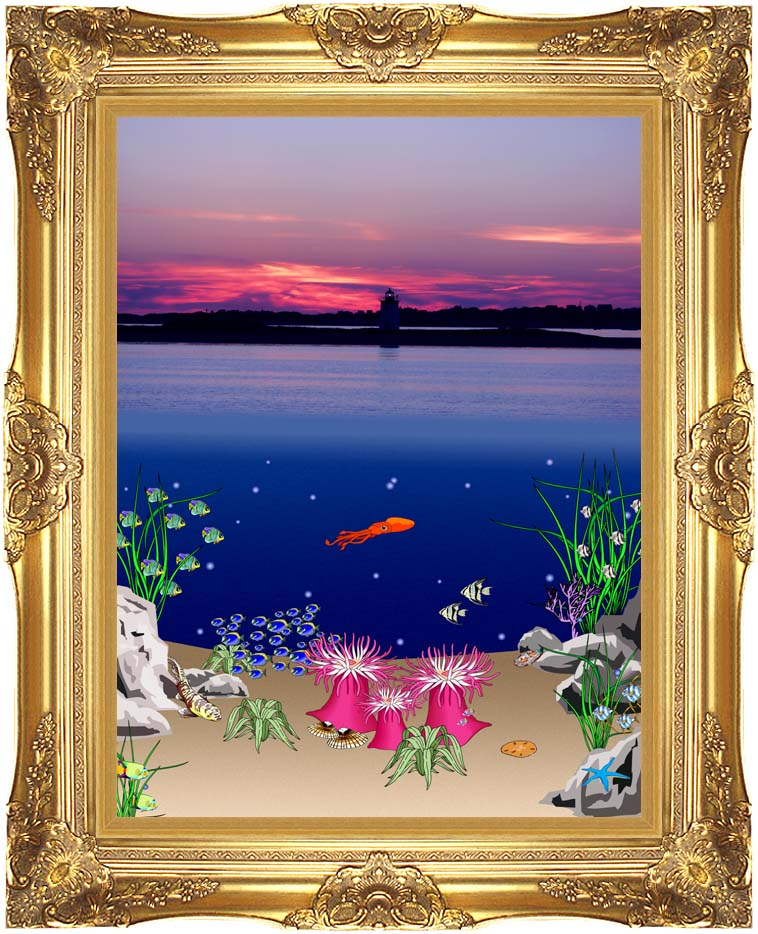 Lora Ashley Ocean Scene Above and Below with Majestic Gold Frame