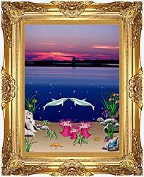 Lora Ashley Lighthouse Above Dolphins Below canvas with Majestic Gold frame
