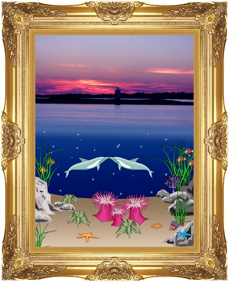 Lora Ashley Lighthouse Above, Dolphins Below with Majestic Gold Frame