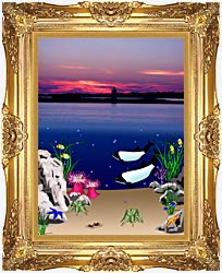 Lora Ashley Lighthouse Above Whales Below canvas with Majestic Gold frame