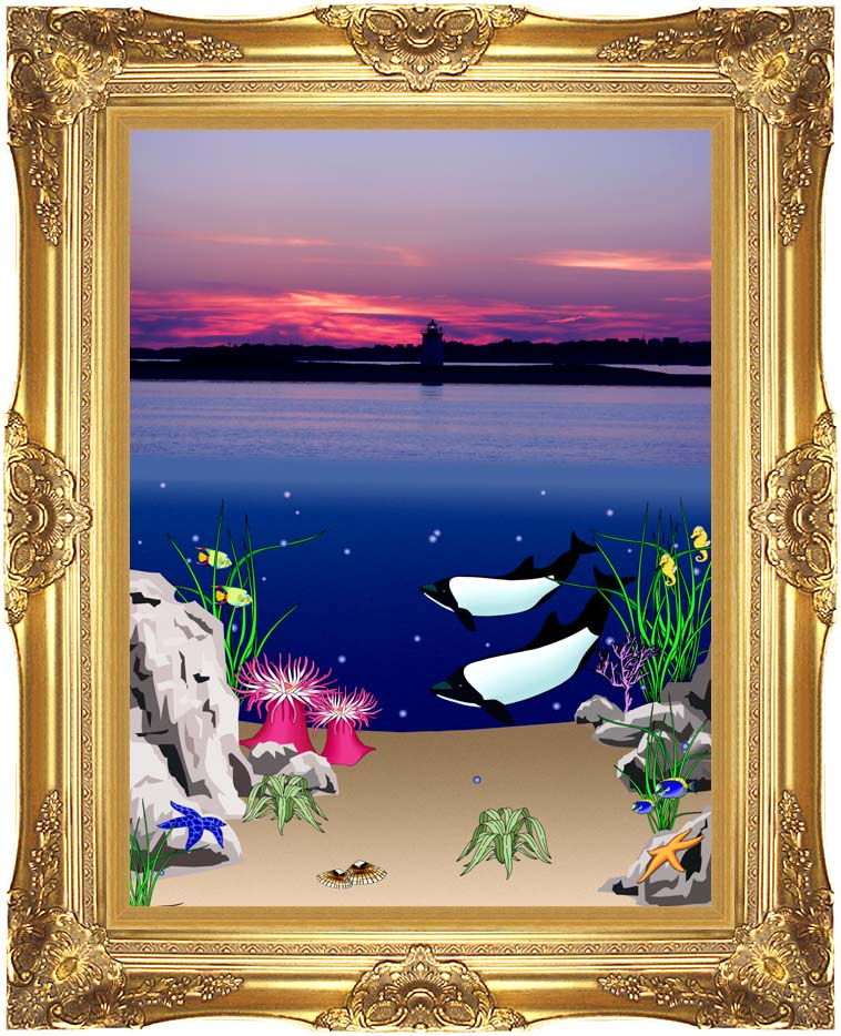 Lora Ashley Lighthouse Above, Whales Below with Majestic Gold Frame