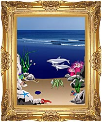 Lora Ashley Dolphins Below The Ocean Waves canvas with Majestic Gold frame