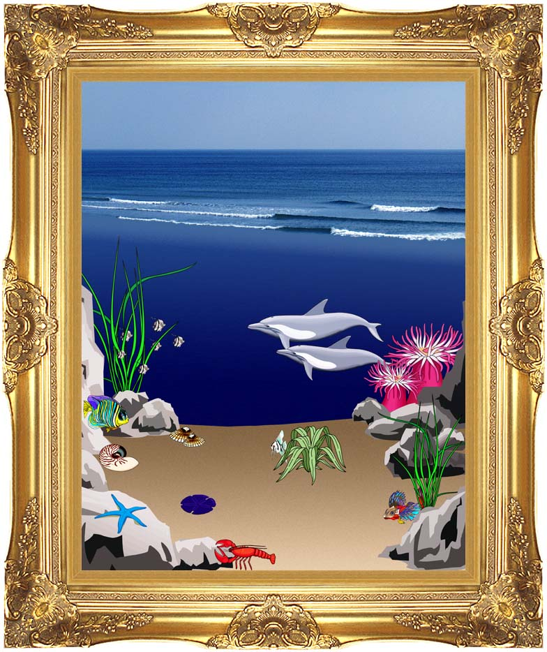 Lora Ashley Dolphins Below the Ocean Waves with Majestic Gold Frame