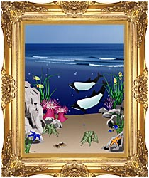 Lora Ashley Whales Below The Ocean Waves canvas with Majestic Gold frame