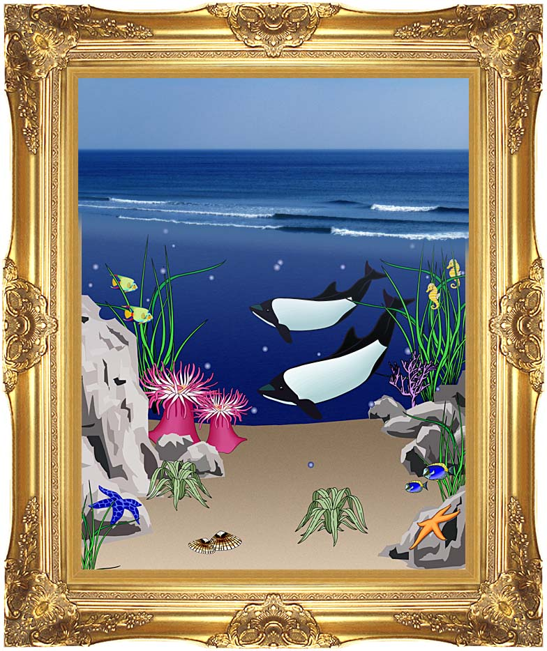 Lora Ashley Whales Below the Ocean Waves with Majestic Gold Frame