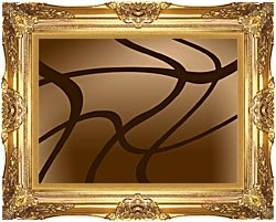 Lora Ashley Brown Abstract canvas with Majestic Gold frame