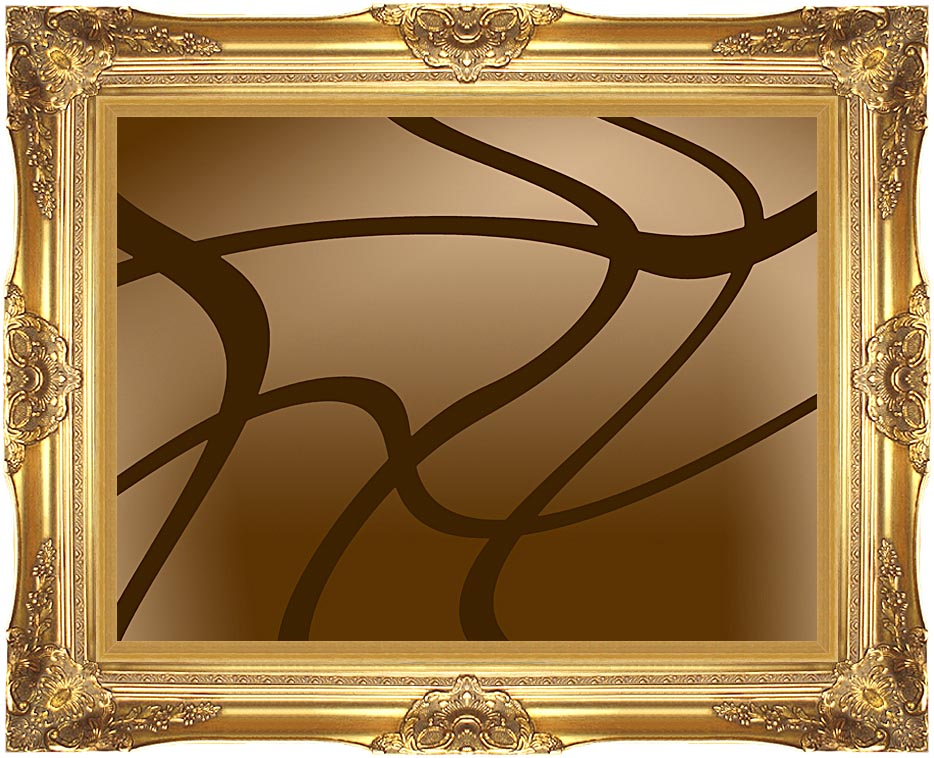 Lora Ashley Brown Abstract with Majestic Gold Frame
