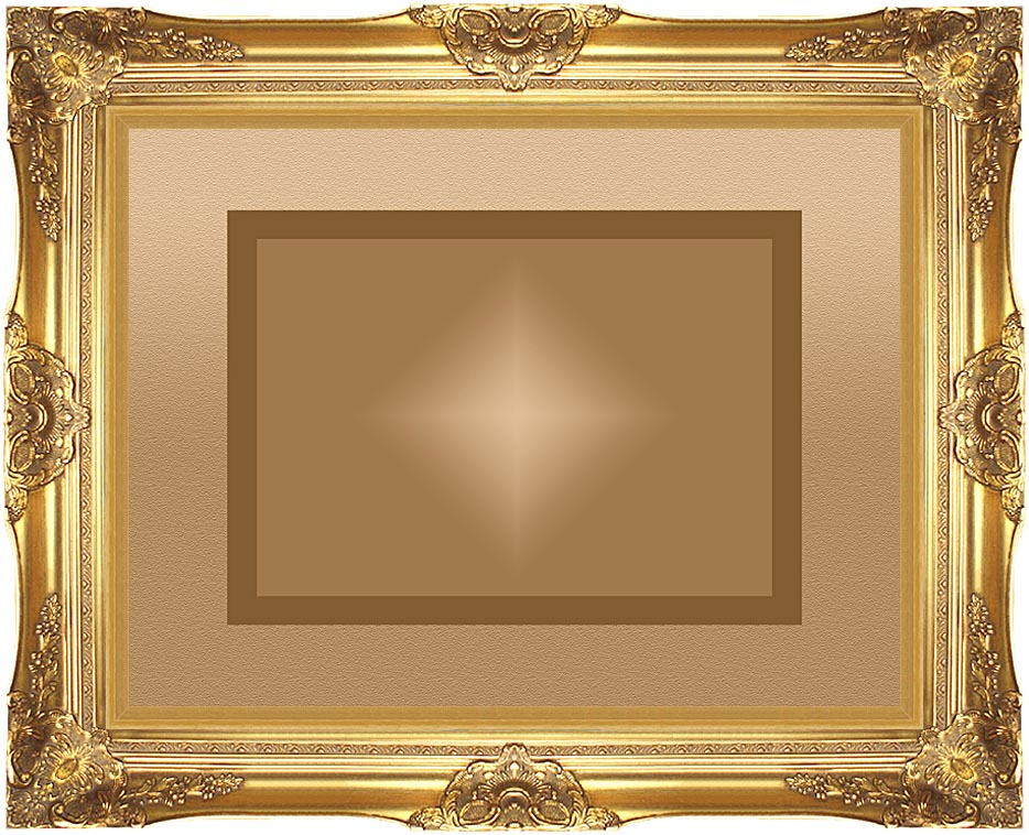 Lora Ashley Brown and Tan Modern with Majestic Gold Frame