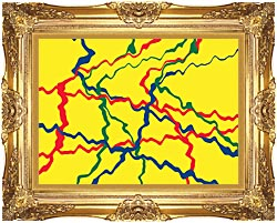 Lora Ashley Yellow Abstract canvas with Majestic Gold frame