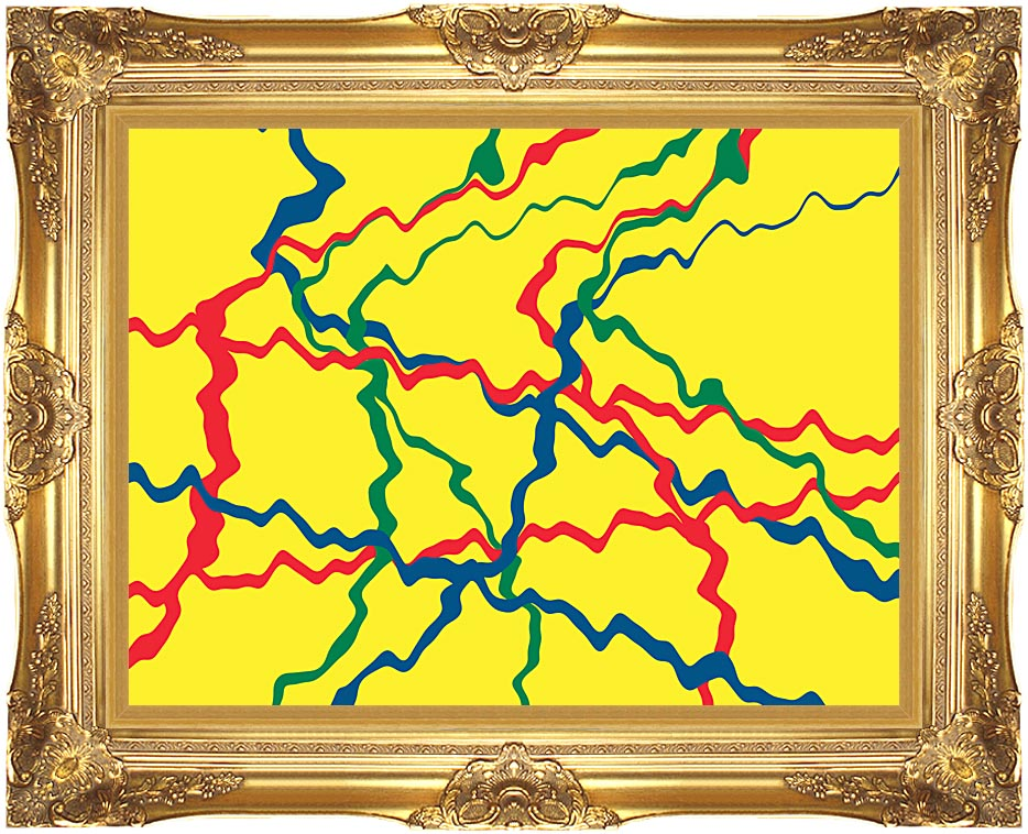 Lora Ashley Yellow Abstract with Majestic Gold Frame
