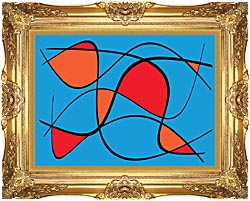 Lora Ashley Blue And Red Abstract canvas with Majestic Gold frame