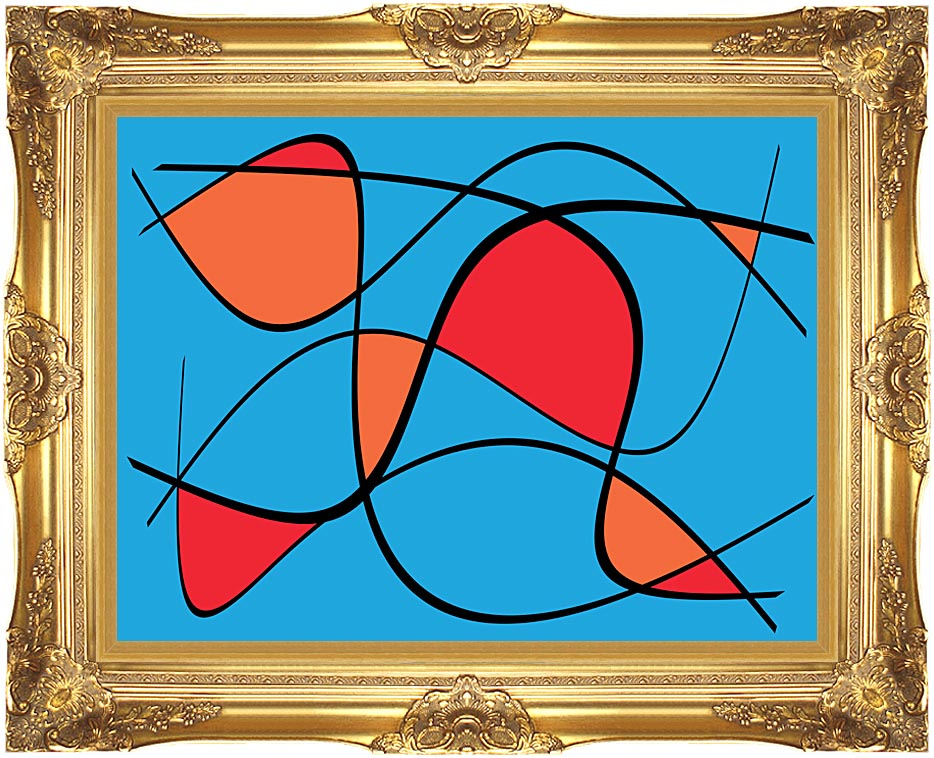 Lora Ashley Blue and Red Abstract with Majestic Gold Frame