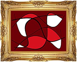 Lora Ashley Maroon Abstract canvas with Majestic Gold frame