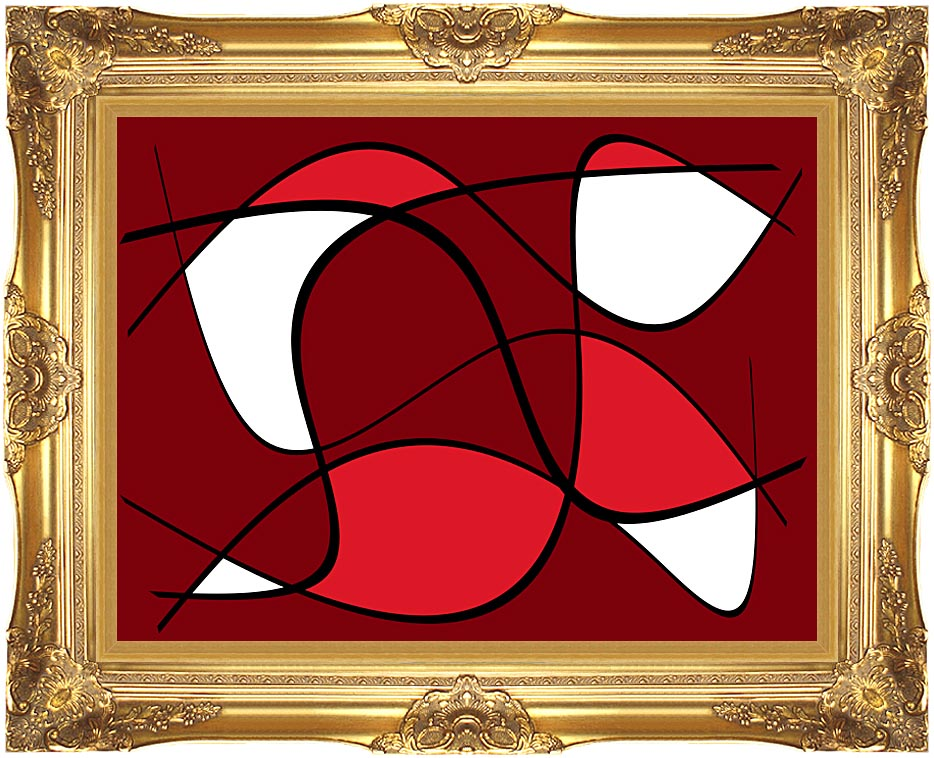 Lora Ashley Maroon Abstract with Majestic Gold Frame