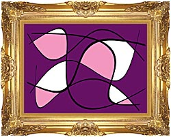 Lora Ashley Purple And Pink Abstract canvas with Majestic Gold frame