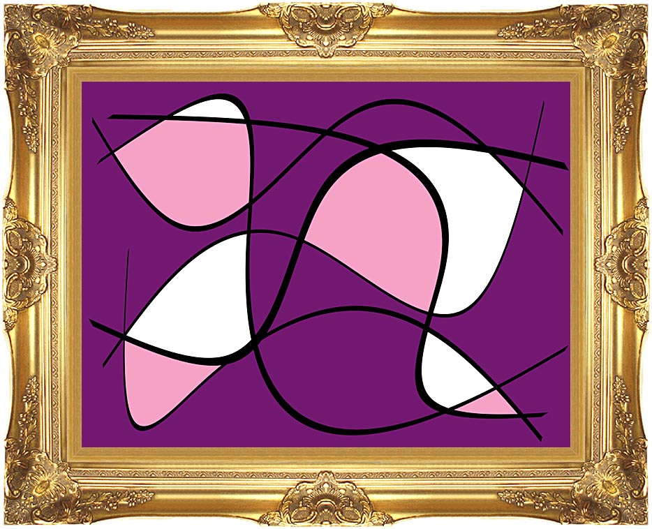 Lora Ashley Purple and Pink Abstract with Majestic Gold Frame