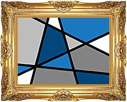 Lora Ashley Blue And Grey Abstract canvas with Majestic Gold frame
