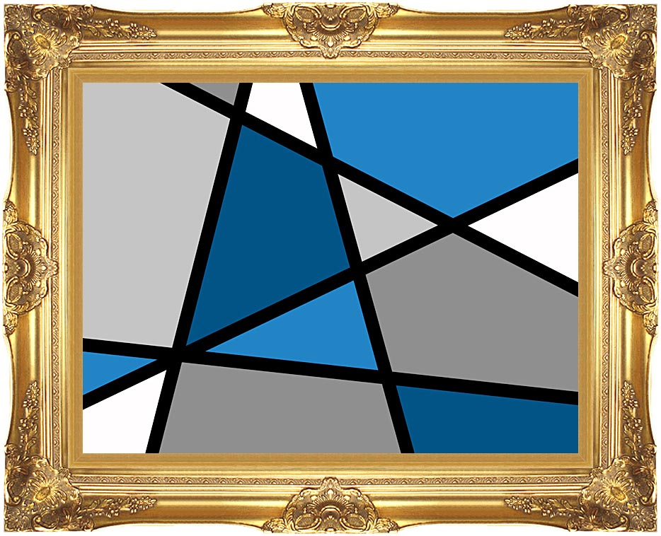 Lora Ashley Blue and Grey Abstract with Majestic Gold Frame