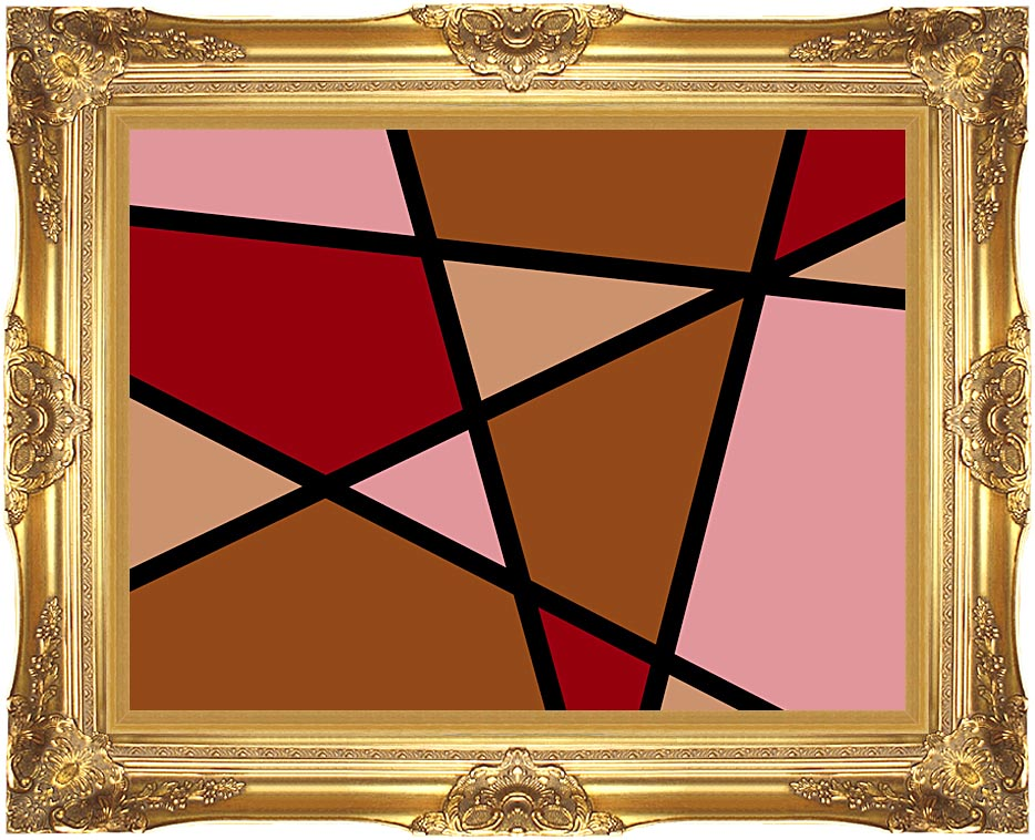 Lora Ashley Earthtone Abstract with Majestic Gold Frame