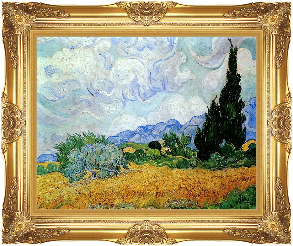 Vincent van Gogh Wheat Field and Cypress Trees (seen in the movie Vanilla Sky) with Majestic Gold Frame