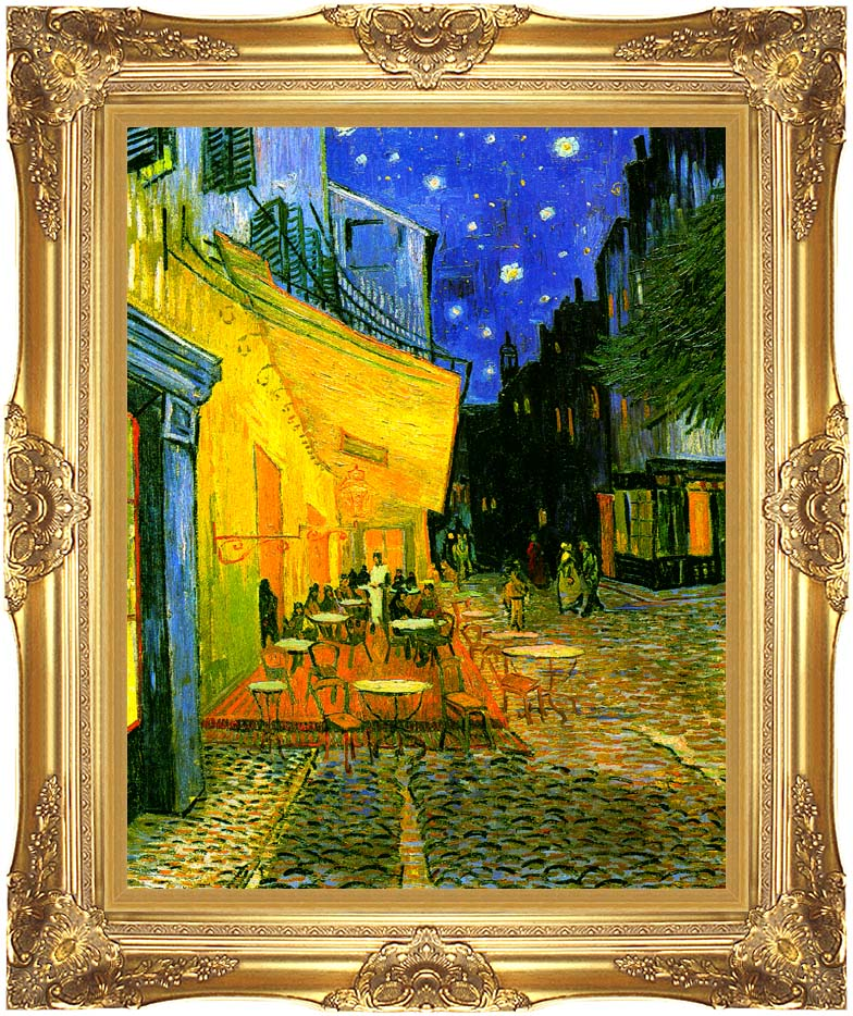 Vincent van Gogh Cafe Terrace at Night with Majestic Gold Frame