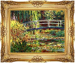 Claude Monet Water Lilies Pink Harmony canvas with Majestic Gold frame