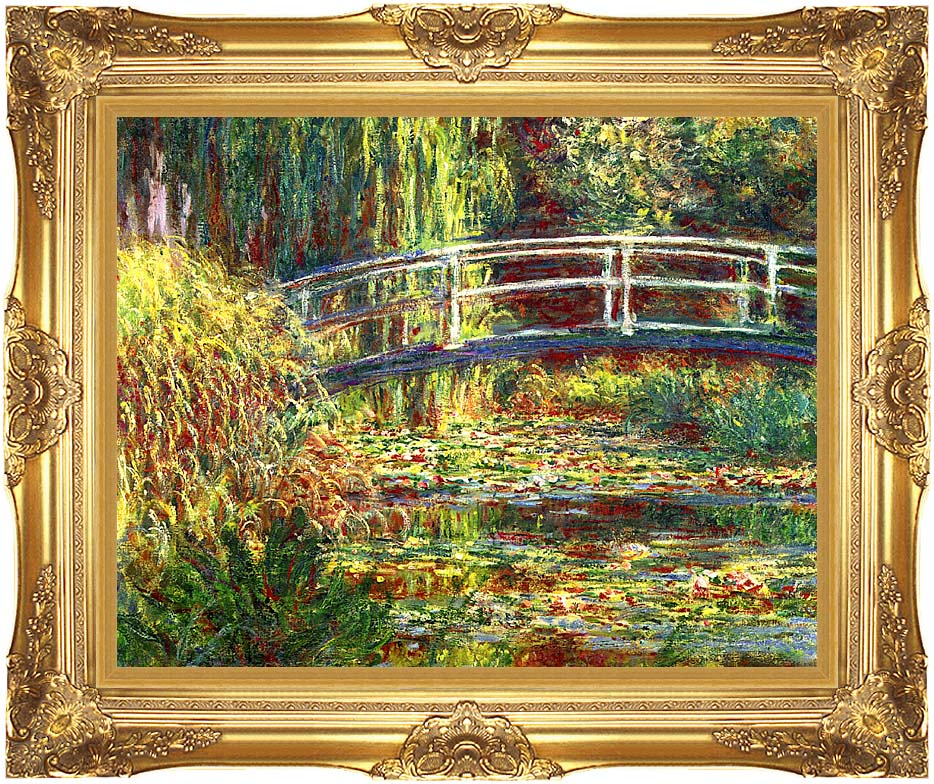 Claude Monet Water Lilies, Pink Harmony with Majestic Gold Frame