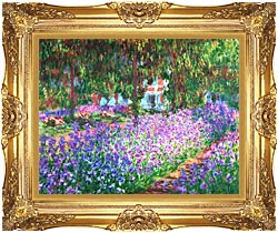 Claude Monet The Artists Garden At Giverny canvas with Majestic Gold frame