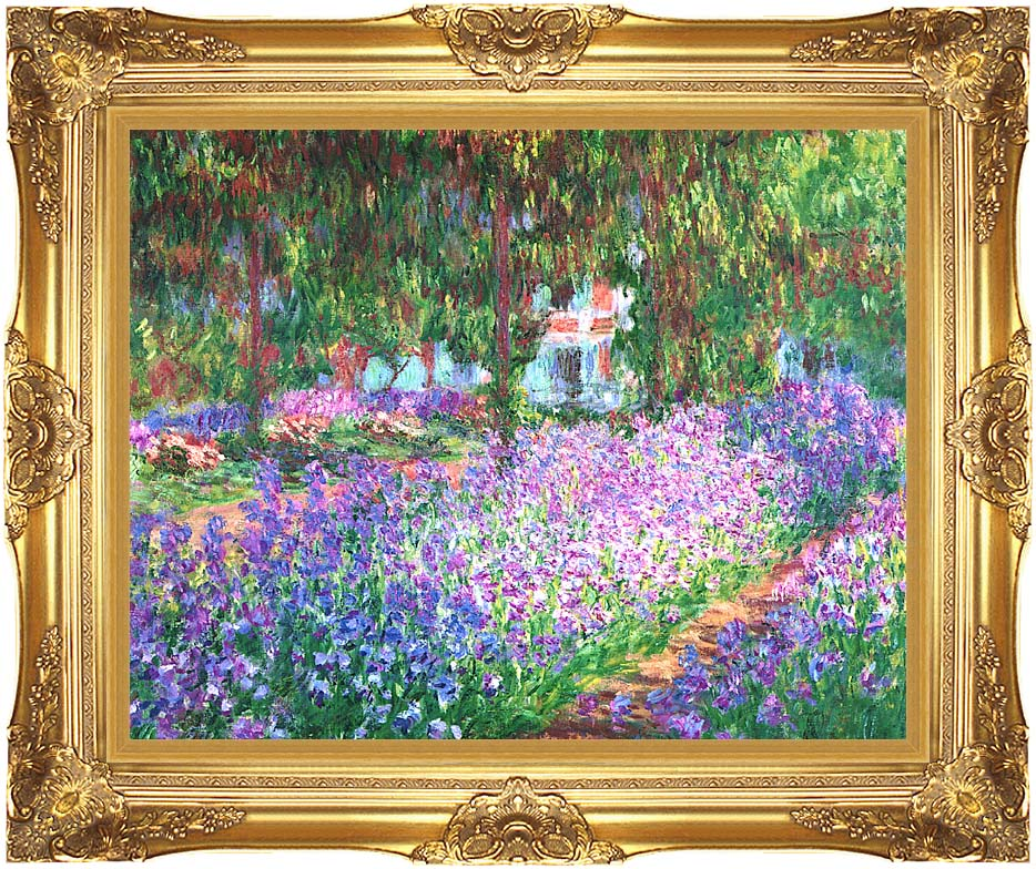Claude Monet The Artist's Garden at Giverny with Majestic Gold Frame