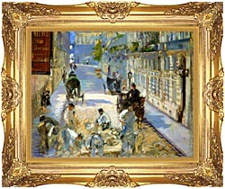 Edouard Manet The Rue Mosnier With Pavers canvas with Majestic Gold frame