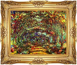 Claude Monet The Path With Rose Trellises Giverny canvas with Majestic Gold frame