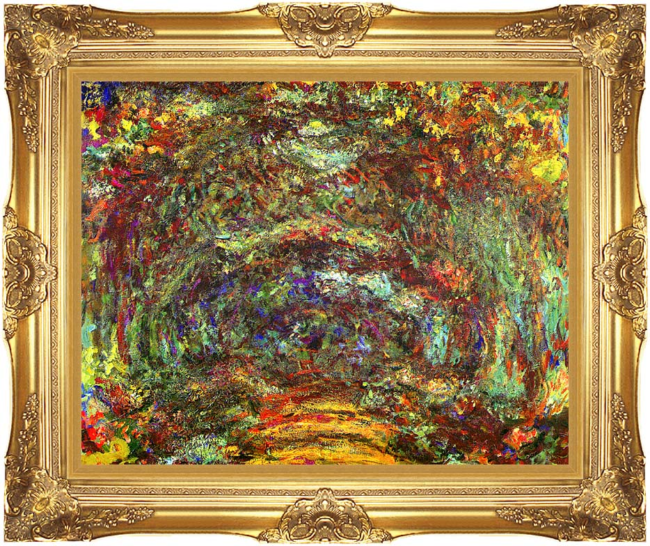 Claude Monet The Path with Rose Trellises, Giverny with Majestic Gold Frame