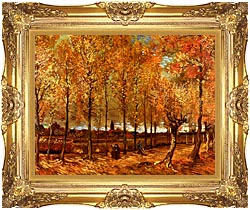 Vincent Van Gogh Lane With Poplars canvas with Majestic Gold frame