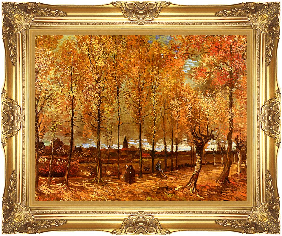 Vincent van Gogh Lane with Poplars with Majestic Gold Frame