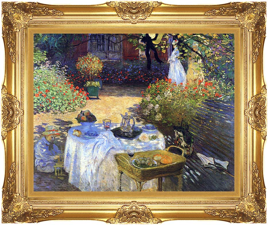 Wall Art Painting With Frame : Claude monet le dejeuner framed art canvas giclee