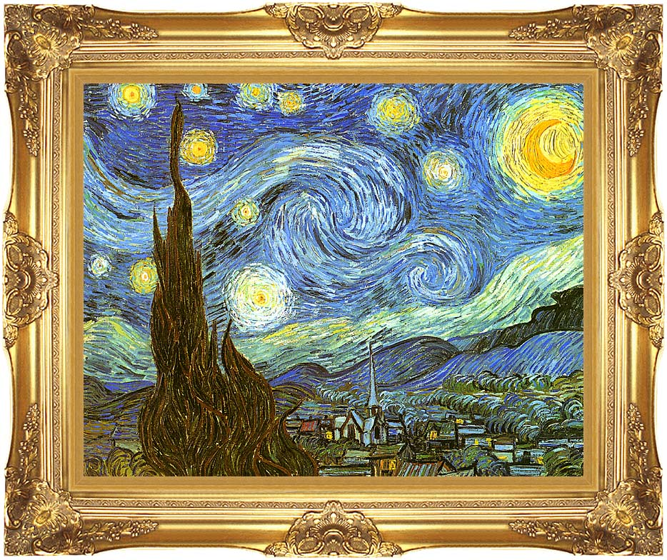 Vincent van Gogh The Starry Night with Majestic Gold Frame