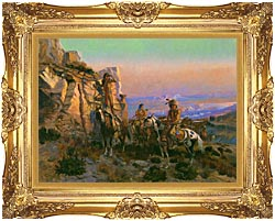 Charles Russell Trouble Hunters canvas with Majestic Gold frame