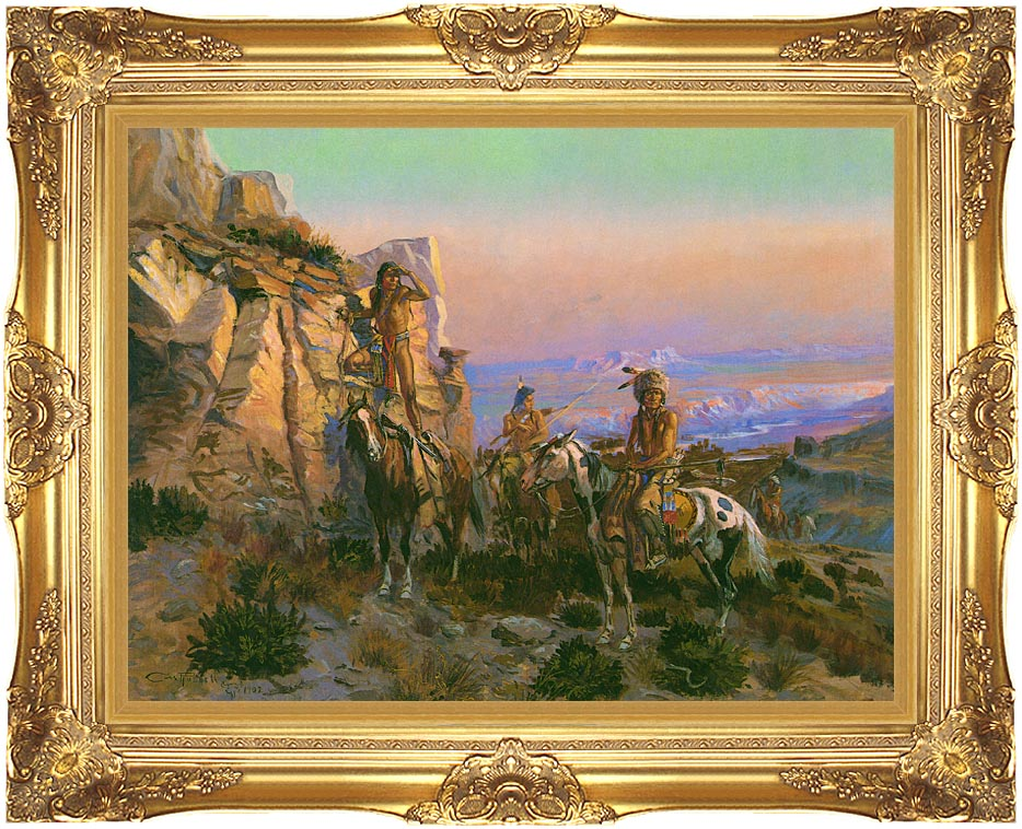 Charles Russell Trouble Hunters with Majestic Gold Frame