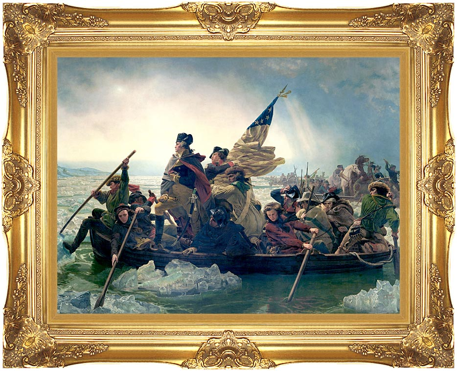 Emanuel Leutze Washington Crossing the Delaware with Majestic Gold Frame