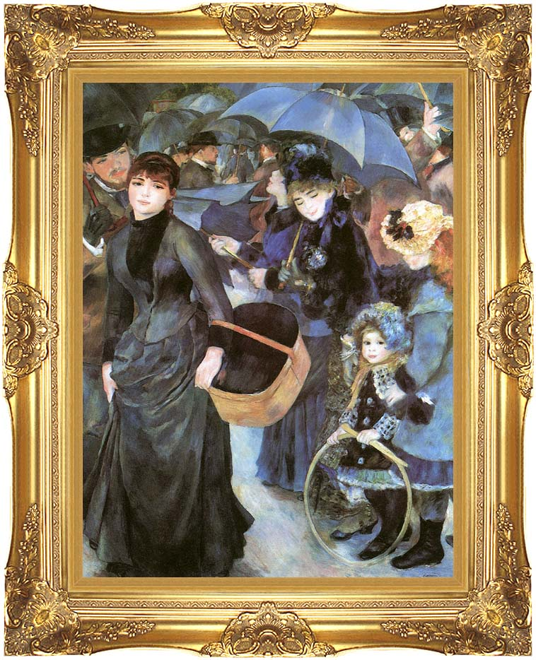 Pierre Auguste Renoir The Umbrellas with Majestic Gold Frame
