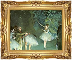 Edgar Degas Ballet Rehearsal canvas with Majestic Gold frame