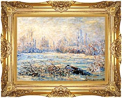 Claude Monet Frost Near Vetheuil canvas with Majestic Gold frame