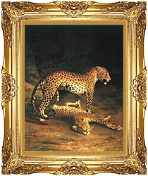 Jacques Laurent Agasse Two Leopards canvas with Majestic Gold frame