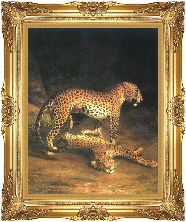 Jacques Laurent Agasse Two Leopards with Majestic Gold Frame