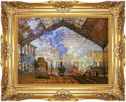 Claude Monet La Gare Saint Lazare canvas with Majestic Gold frame