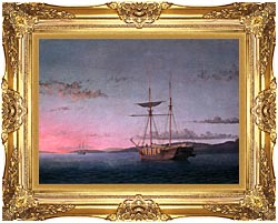 Fitz Hugh Lane Lumber Schooners At Evening On Penobscot Bay canvas with Majestic Gold frame